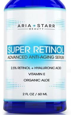 Aria Starr Beauty 2.5% Retinol Serum - 60ml - With Botanical Hyaluronic Acid, Vitamin E, Organic Aloe, Jojoba Oil, and Green Tea - BEST Natural Skin Care Product For Anti Ageing, Anti Wrinkle, Anti Oxidant, and Acne Face, Neck & Eye Treatment