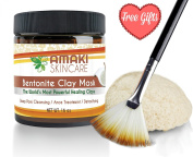Bentonite Clay Facial Mud Mask for Detoxifying Skin Care ♥ BONUS Konjac Sponge & Applicator Brush ♥ Amazing Acne Treatment & Blackhead Remover That Unclogs & Minimises Pores ♥ Great Moisturiser for Eczema & Psoriasis Treatment to Use on  ..