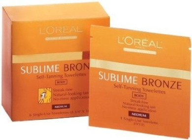 L'Oreal Paris Sublime Bronze Self-Tanning Body Towelettes, 6 Count (Pack of 2)