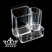 PUEEN Acrylic Makeup Brush and Cosmetic Holder Organiser with 3 Compartments