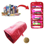Rimobul Luxury Roll N Go Cosmetic Bag Roll Up Bathroom Organiser Red & Hot Pink
