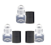 Grand Parfums Empty 1ml Micro Mini Rollon Dram Glass Bottles with Metal Roller Balls - Refillable Aromatherapy Essential Oil Roll On - Bulk - 1/4 Dram Pack of 6 -