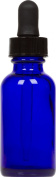 Cobalt Blue Glass Boston Round Bottle w/ Black Glass Dropper 30ml