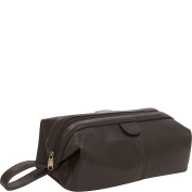 AmeriLeather Top-Zip Leather Toiletry Bag