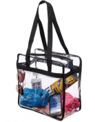 Clear 12 x 12 x 6 NFL Stadium Tote Bag with Side Pocket