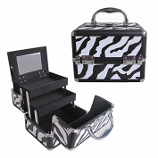 BerucciTM Professional Zebra 20cm Lightweight Aluminium Makeup Artist Organiser Kit with 2 Extendable Trays, Aluminium Trimming, Lock and Keys, and Mirror