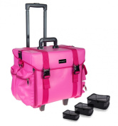 SHANY Makeup Artist Soft Rolling Trolley Cosmetic Case with Free Set of Mesh Bags, Sweetheart