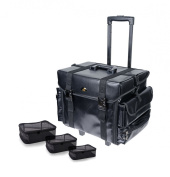 SHANY Cosmetics Soft Black Makeup Artist Rolling Trolley Cosmetic Case with Free Set of Mesh Bags, Leather Match