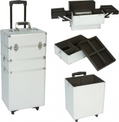 Seya 3 in 1 Professional Rolling Cosmetic Makeup Train Case Wheeled Organiser - 29 Inch