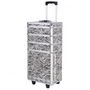 Giantex 4in1 Interchangeable Pro Aluminium Rolling Makeup Case Cosmetic Train Box Trolley