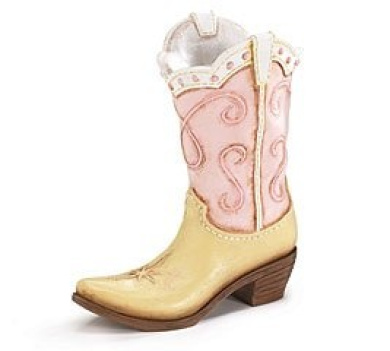 Pink Ladies Cowboy Cowgirl Boot Vase - Great Western Country Home Accent !!