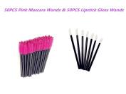 G2PLUS 50 Pack Disposable Eyelash Mascara Brushes Wands Applicator Pink+50 Pack Disposable Makeup Lip Brushes Lipstick Gloss Wands Applicator Makeup Brush Kits