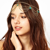 Sannysis 1PC Unique Turquoise Chain Jewellery Headband Party Headpiece Hair Band For Girls