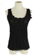 Sexy Lace Hollowed-out Flower Tank Top Sleeveless Women Casual T-shirt Vest (Black