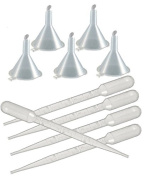 2 Small Perfume Funnels + 6 Transfer Pipettes - Droppers to Decant Perfume for Decanting Fragrance by Grand Parfums