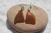 Amber Brown Sea Glass Earrings