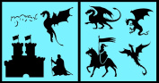 Auto Vynamics - STENCIL-DRAGONSET01-20 - Detailed Castle & Dragons Stencil Set - Includes Dragons, Knights, Castles, & More! - 50cm by 50cm Sheet - (2) Piece Kit - Pair of Sheets