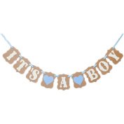 CheckMineOut IT IS A BOY LOVE HEART Paper Garland Bunting Banner Rustic Christening Baby Shower Garland Decoration Birthday Party Favours