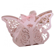 Zcargel . Cute Pink Laser Cut Butterfly Wedding Bridal Shower Candy Birthday Party Favour Candy Boxes