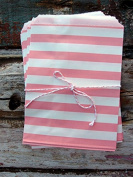 Pink Stripe Paper Treat Bags -