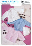 Peter Gregory Baby DK Double Knitting Pattern Long Sleeved Lace Style Cardigans & Bonnet