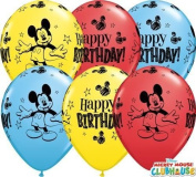 Mickey Mouse Happy Birthday 28cm Qualatex Latex Balloons x 25