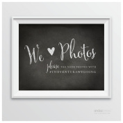 Andaz Press Wedding Party Signs, Vintage Chalkboard Print, 22cm x 28cm , We Heart Photos, Please Tag Your Photos, 1-Pack, Custom Made Any Name
