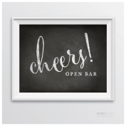 Andaz Press Wedding Party Signs, Vintage Chalkboard Print, 22cm x 28cm , Open Bar Cheers!, 1-Pack