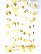 Twikle Star Hanging Decoration String Paper Garland (3m Long) Wedding Birthday Party Baby Shower Table Decoration Colour Glod
