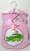 Halo Plush Reversible Pink Sherpa Baby Girls Blanket - Embroidered Green Crocodile / Alligator Graphic, 80cm x 100cm Gift Ready!