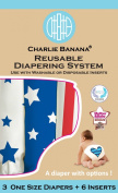 Charlie Banana 2-in-1 Reusable Nappies System, 3 Nappies Plus 6 Inserts, Americano, One Size