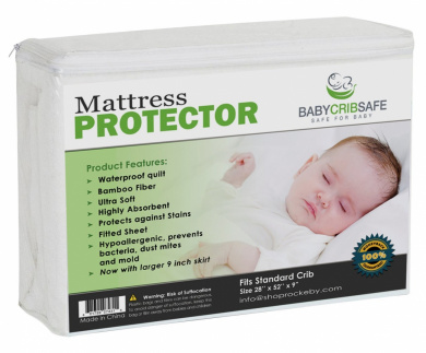 Best Baby Crib Mattress Cover - A waterproof fitted quilted pad made from Hypoallergenic Fibre Bamboo.