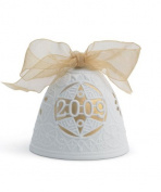 Lladro 2009 Christmas Bell, White with Gold Accent