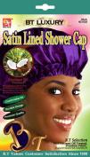 Beauty Town Satin Lined Shower Cap (Purple), Coconut oil, natural moisturiser, anti ageing, hair scalp, shiny hair, luscious, premium quality, comfortable fit, durable material
