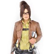Amybria Stylish Attack On Titan/Hanji Zoe Cosplay Wig With Clip On Ponytail Dark Brown