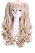 ROLECOS Womens Lovely Long Curly 2 Ponytails Anime Cosplay Wigs Blonde