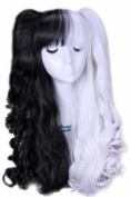 ROLECOS Long Lolita Ponytails Wavy Cosplay Wig Black Split White