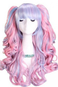 ROLECOS Lolita New Long Powerblue Curly Ponytails Cosplay Party Wig Cb21