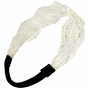 Princess Floral Lace Elastic Headband Set - Black and White