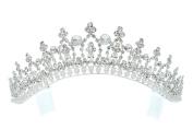 Rhinestone Crystal Bridal Wedding Pageant Princess Tiara Crown - Faux Pearls Silver Plating T163