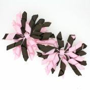 Mini Korker Hair Bow Clips Set of 2 - Girls Curly Grosgrain Ribbon Hairbows