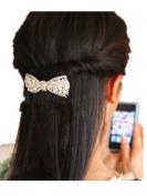 JYE Women's White Pearl Bling Rhinestone Beaded Silver Hair Barrette Clip Pin for Long Hair Ponytail Holder
