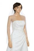 1T 1 Tier Hand Sewn Pearl Beaded Edge Wedding Veil - ivory Fingertip Length 90cm V320