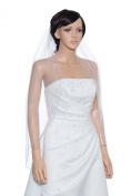 1T 1 Tier Hand Sewn Pearl Beaded Edge Wedding Veil - white Fingertip Length 90cm V319