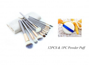 KINGLAKE® 12 PCS Professional Makeup Brush Set Hot Horse Hair Professional Makeup Cosmetics Brushes Set Kits with White Cream-coloured Case Bag+1Pcs Powder Puff