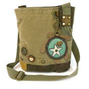 Chala Handbag Patch Crossbody SEA TURTLE Bag Canvas Messenger OLIVE GREEN