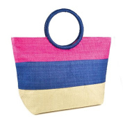Womens/Ladies Woven Stripe Pattern Summer Handbag With Ring Handle