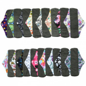 6 Pieces 25cm Charcoal Bamboo Mama Cloth/ Menstrual Pads/ Reusable Sanitary Pads / Panty Liners - You Choose 6 From 17 Designs and Send the Message to Me