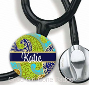 Stethoscope Tag - Navy Paisley - Personalised Name - Steth ID Tag