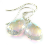 Sterling Silver Mystic Rainbow Earrings Crystal Clear Faceted Pear Pink Purple Green